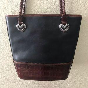 BRIGHTON Black & Brown Leather Handbag/Bucket Bag